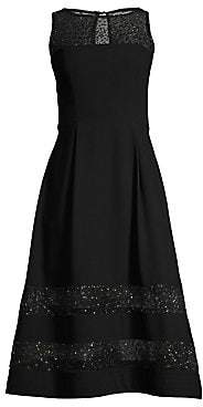 Aidan Mattox Women's Sleeveless Sheer Stripe Cocktail Dress - Size 0