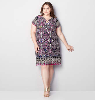 Avenue Medallion Puff Print A-Line Dress