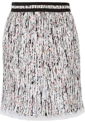 Carven Printed Plissé-Georgette Skirt