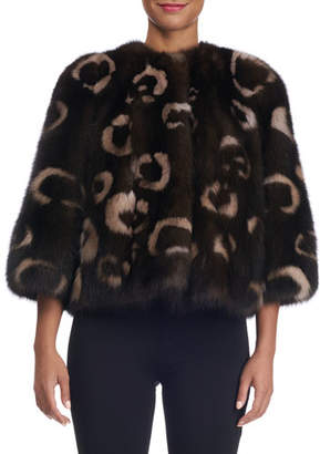 Norman Ambrose Sable Fur Leopard-Intarsia Collarless Bolero Jacket