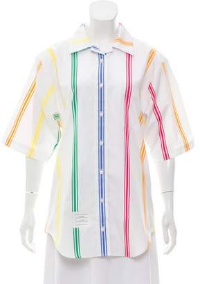 Thom Browne Cuban Polo Short Sleeve Top