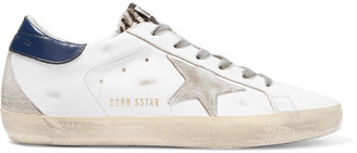 Golden Goose Deluxe Brand - Super Star Distressed Suede-paneled Leather Sneakers - White $460 thestylecure.com