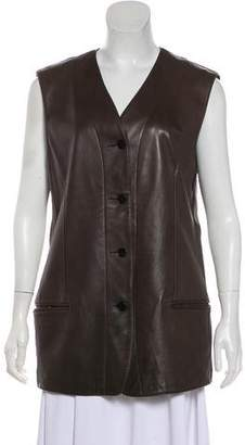 Calvin Klein Collection Leather Button-Up Vest