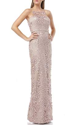 JS Collections 3D Embroidered Mesh Evening Dress