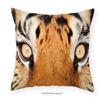 Hunter UncleQiang Custom pillowcases Safari Decor Close-up Tiger Eyes Look Feline Camouflage Coat Animal with Shady Colors Photo Bedroom Living Room Dorm Decor Orange Black