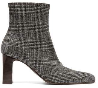 Balenciaga Prince Of Wales Checked Twill Ankle Boots - Womens - Dark Grey