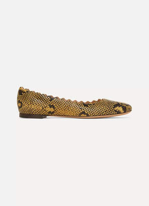 Chloé Lauren Scalloped Snake-effect Leather Ballet Flats - Snake print