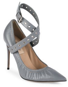 Valentino Love Latch Grommeted Leather Ankle-Wrap Pumps