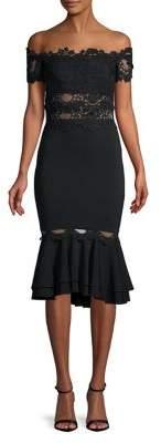 Nicole Bakti Off-the-Shoulder Mermaid Midi Dress