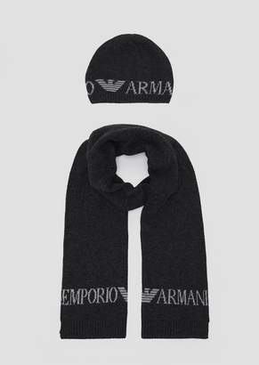 Emporio Armani Knitted Scarf With Contrast Logo