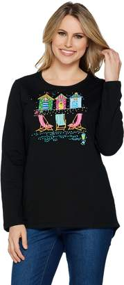 Factory Quacker Summer Getaway Long Sleeve Hi-Low Hem Knit T-shirt