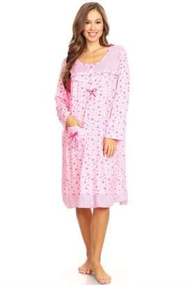 16cf09761d Lati Fashion 6009 Womens Nightgown Sleepwear Pajamas Woman Long Sleeve  Sleep Dress Nightshirt XL