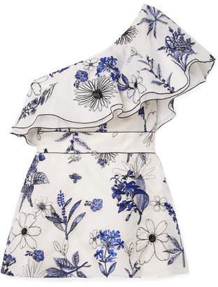 Lela Rose One-shoulder Embroidered Silk-organza Top - Blue