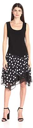 MSK Women's Asymmetric Knit To Woven Skirt Dress