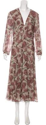 Burberry Printed Long Sleeve Maxi Dress