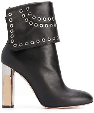 Alexander McQueen Bi-coloured Sculpted Heel Eyelet ankle boots