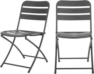 MADE Essentials Set of 2 Tice Folding Dining Chair, Grey