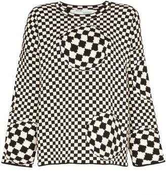 Off-White checked intarsia knit jumper