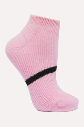 Maria La Rosa Striped Ribbed Cashmere Socks - Pink