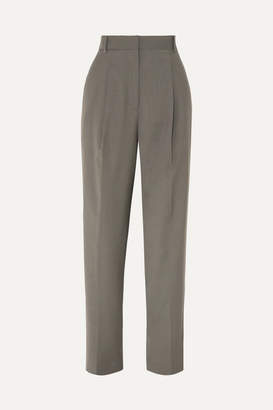 Tibi Pleated Crepe Tapered Pants - Dark gray