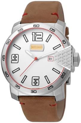 Just Cavalli Men's Watches Men's Rock Blod XXL Leather Watch, 46mm
