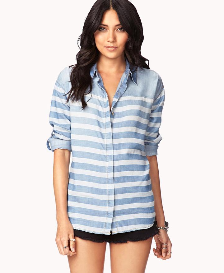 Forever 21 Life In ProgressTM Striped Denim Shirt
