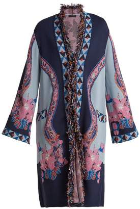 Etro Fringed Floral Jacquard Knit Cardigan - Womens - Blue Multi