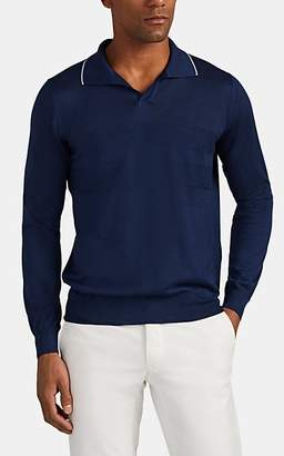 Fioroni Men's Cashmere-Silk Johnny-Collar Polo Shirt - Navy