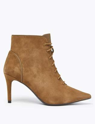 Marks and Spencer Suede Lace Up Stiletto Heel Ankle Boots