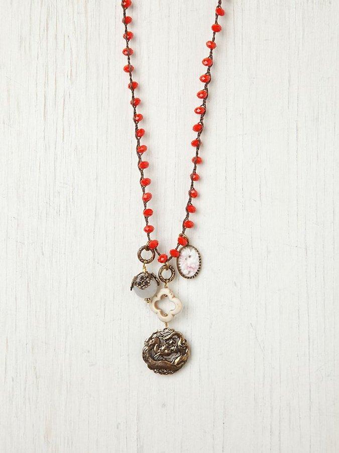 Love Heals Orange Bead and Vintage Charm Pendant