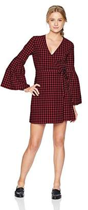 Jack by BB Dakota Junior's Alter Ego Gingham Bell Sleeve Wrap Dress