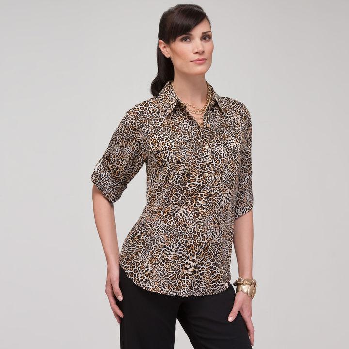 Jones New York Animal Print Roll Sleeve Shirt