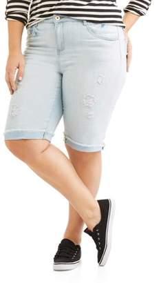 Dollhouse Juniors' Plus Raw Cuffed Bermuda Shorts With Destruction