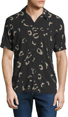 Neiman Marcus Enlarged Animal-Print Short-Sleeve Sport Shirt