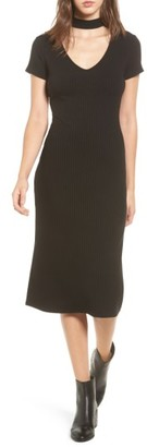 Women's One Clothing Ribbed Choker Midi Dress $35 thestylecure.com