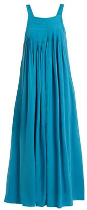 Tibi Areille Pleated Silk Crepe Dress - Womens - Blue