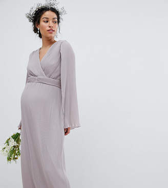 TFNC Maternity Maternity Pleated Wrap Front Maxi Bridesmaid Dress with Cape Detail