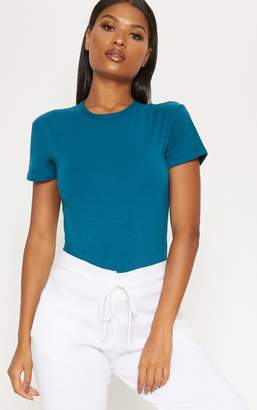 PrettyLittleThing Teal Cotton Stretch T Shirt Thong Bodysuit