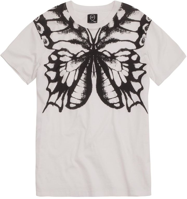 McQ by Alexander McQueen White Butterfly Boyfriend T-shirt