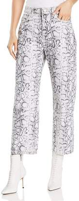Alexander Wang Printed Ankle Straight Jeans in Faded Python