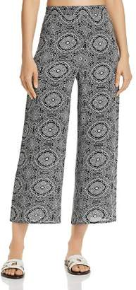 Aqua Tapestry-Print Cropped Wide Leg Pants - 100% Exclusive