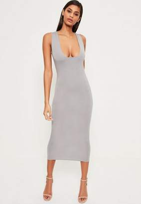 Missguided Grey Jersey Square Bust Midi Dress