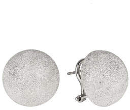 Carolina Bucci 18k White Gold Florentine Large Stud Earrings w/ Clip