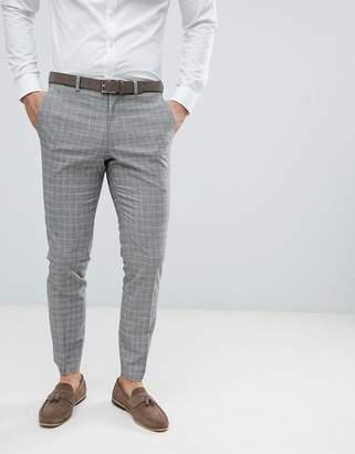 Burton Menswear wedding suit pants in stone check