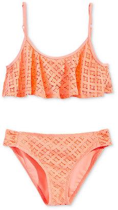 Roxy Palm Paradise Flutter 2-Pc. Crochet Detail Bikini Top & Bottoms Set, Big Girls (7-16) $46 thestylecure.com