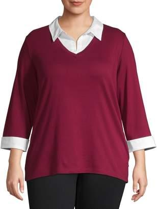 Karen Scott Plus Contrasting Cotton Pullover Top
