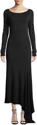 Olivier Theyskens Boat-Neck Long-Sleeve Long Knit Dress w/ Hook & Eye Details