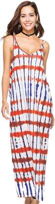 Aivtalk Women's Sexy V Neck Sleeveless Halter Boho Maxi Beach Dress Size M