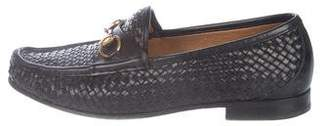 Gucci Woven Leather Horsebit Dress Loafers