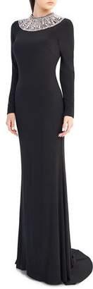 Mac Duggal Ieena for Embellished Crewneck Long-Sleeve Jersey Gown